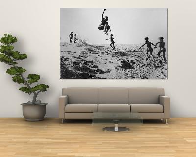 Bushman Children Playing Games on Sand Dunes-Nat Farbman-Giant Art Print