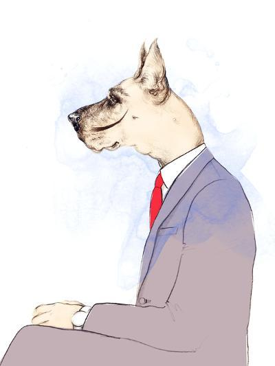 Business Dog . Fashion Animal Watercolor Illustration-Anna Ismagilova-Photographic Print