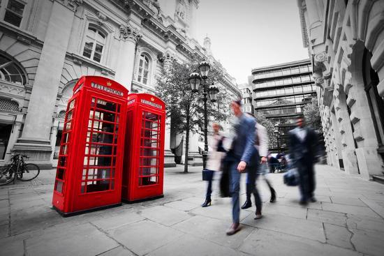 Business Life Concept in London, the Uk. Red Phone Booth, People in Suits Walking-Michal Bednarek-Photographic Print
