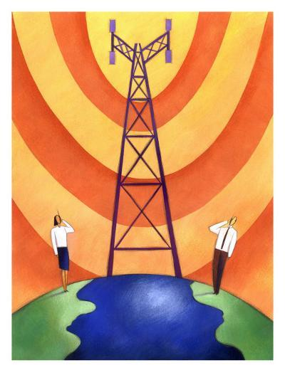 Business People on Phones by Cell Phone Communication Tower--Art Print