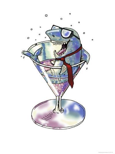 Business Shark in a Glass-Linda Braucht-Giclee Print