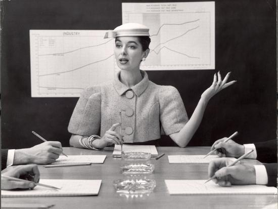 Business Woman Wearing Fashion That Gives Wide Shoulder Look-Nina Leen-Photographic Print