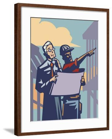 Businessman and Construction Contractor Planning Development--Framed Photo