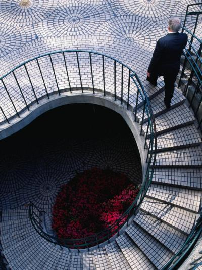 Businessman Ascending Stairs at Embarcadero Centre, San Francisco, California, USA-Roberto Gerometta-Photographic Print