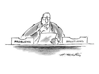 "Businessman has two boxes on his desk - one says ""Problems"" the other ""Sol?"" - New Yorker Cartoon-Henry Martin-Premium Giclee Print"