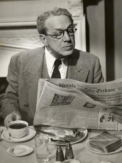 Businessman Reading Paper at Breakfast-George Marks-Photographic Print