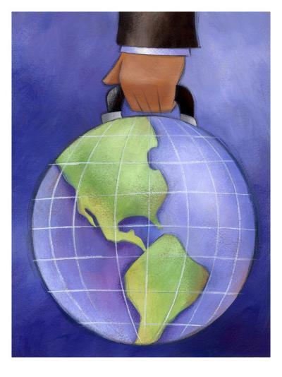 Businessman's Hand Carrying World Globe by Handle--Art Print