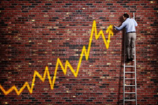Businessman Standing on a Ladder and Drawing a Graph with Positive Trend in Graffiti Style Yellow S-Flynt-Photographic Print