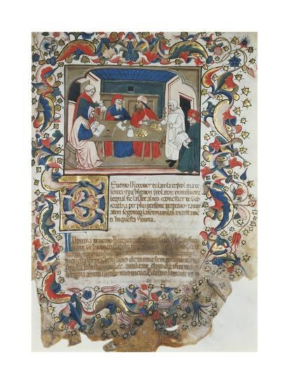 Businessmen Closing Deal, Miniature from Code of the Register of Maffio, 1391, Italy 14th Century--Giclee Print
