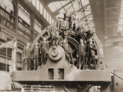 Businessmen Pose on a Giant Westinghouse Electrical Generator, 1918--Photo