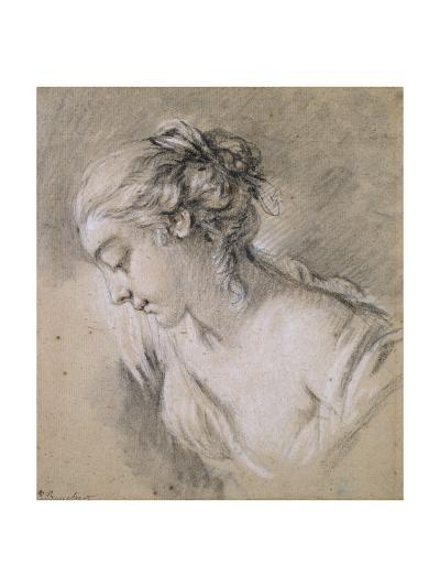 Bust of a Girl in Profile to Left-Francois Boucher-Giclee Print