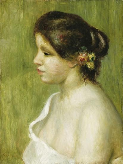 Bust of a Young Girl with Flowers Decorating Her Ear, 1898-Pierre-Auguste Renoir-Giclee Print