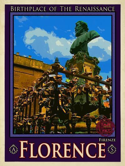 Bust of Benvenuto Cellini on the Ponte Vecchio, Florence. Italy 2-Anna Siena-Giclee Print