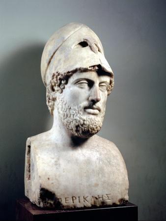 Bust of Pericles (D.429 BC) Roman, Copy of a Greek Original, circa 430 BC (Marble Sculpture)--Premium Giclee Print