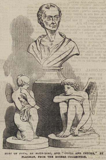 Bust of Pope, by Roubiliac, and Cupid and Psyche, by Flaxman, from the Rogers Collection--Giclee Print