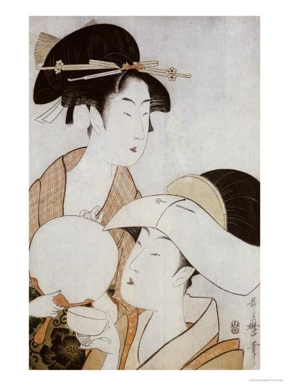 Bust Portrait of Two Women, One Holding a Fan, the Other with a Head Cover Holding a Tea Cup-Kitagawa Utamaro-Giclee Print