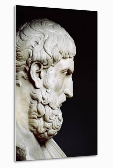Bust Sculpture of Epicurus--Metal Print