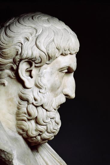 Bust Sculpture of Epicurus--Photographic Print