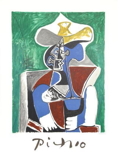 Buste au Chapeau Jaune et Gris-Pablo Picasso-Collectable Print