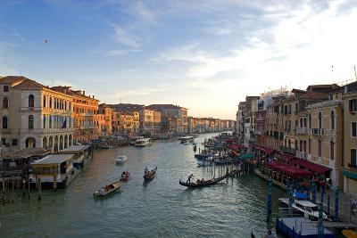Bustling Riverfront Along the Grand Canal in Venice, Italy-David Noyes-Photographic Print
