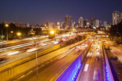 Busy Highway Traffic at Dusk in Sao Paulo, Brazil-Alex Saberi-Photographic Print