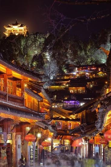 Busy Lijiang Old Town, at Night with Lion Hill and Wan Gu Tower, Lijiang, Yunnan, China, Asia-Andreas Brandl-Photographic Print