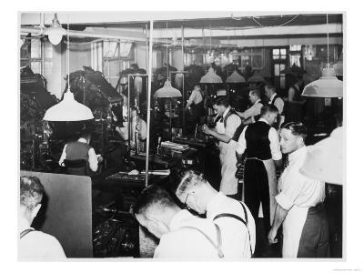 Busy Newspaper Office--Giclee Print
