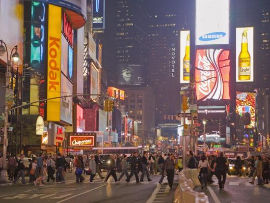 Busy Night with Lots of People in Times Square, New York City-Mike Theiss-Photographic Print