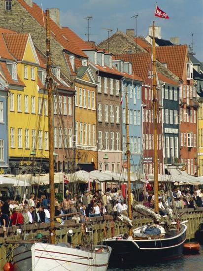 Busy Restaurant Area, Nyhavn, Copenhagen, Denmark, Scandinavia, Europe-Harding Robert-Photographic Print