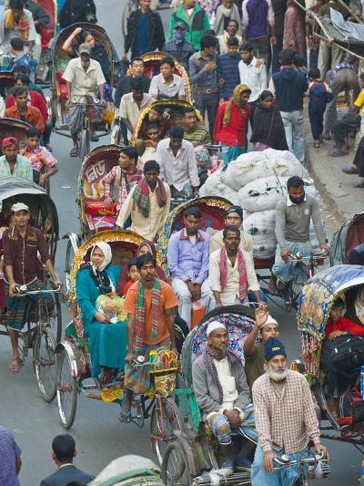 Busy Rickshaw Traffic on a Street Crossing in Dhaka, Bangladesh, Asia-Michael Runkel-Photographic Print