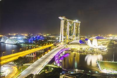 Busy Roads Leading to the Marina Bay Sands, Gardens by the Bay and Artscience Museum at Night-Fraser Hall-Photographic Print