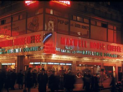 Busy Street Corner of Maxwell House and Mayflower Doughnuts Restaurant-Andreas Feininger-Photographic Print