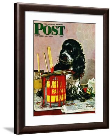 """""""Butch & Paint Cans,"""" Saturday Evening Post Cover, October 29, 1949-Albert Staehle-Framed Giclee Print"""