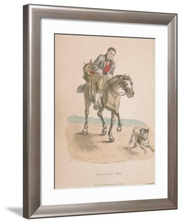 Butcher's Boy Riding a Horse Accompanied by a Dog Running Ahead, Carrying a Basket of Meat, C1830--Framed Giclee Print