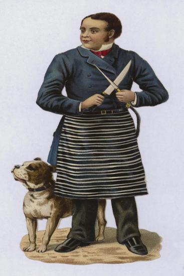 Butcher, Sharpening Knife, with Dog--Giclee Print