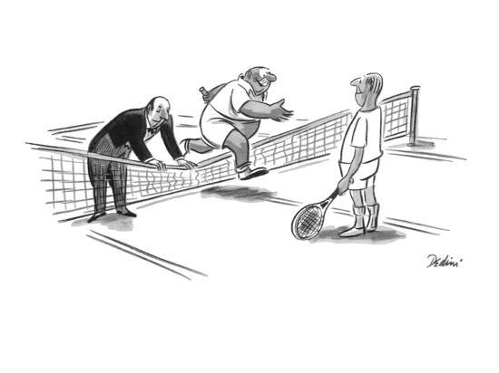 Butler is holding down the tennis net for his master to jump over. - New Yorker Cartoon-Eldon Dedini-Premium Giclee Print