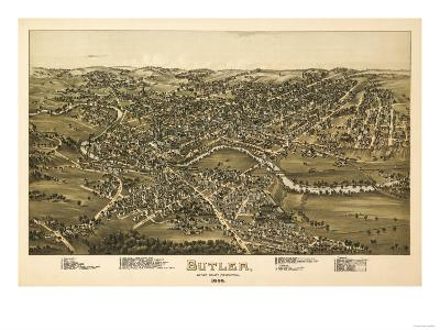 Butler, Pennsylvania - Panoramic Map-Lantern Press-Art Print