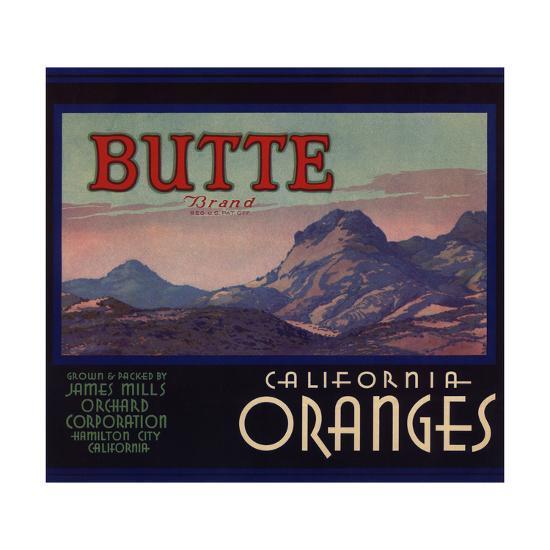 Butte Brand - Hamilton City, California - Citrus Crate Label-Lantern Press-Art Print