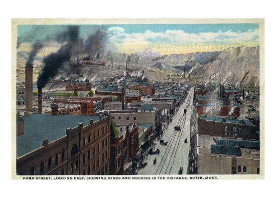 Butte, Montana, Eastern Aerial View of Park Street, Mines and Rockies in Distance-Lantern Press-Art Print