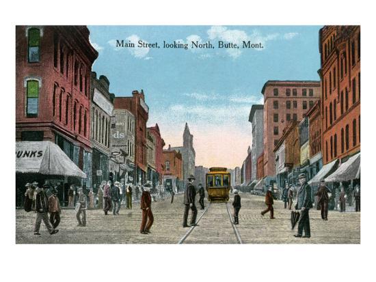 Butte, Montana, Northern View of Main Street-Lantern Press-Art Print