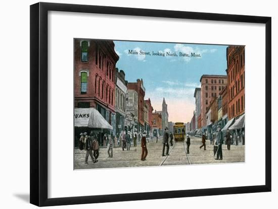 Butte, Montana, Northern View of Main Street-Lantern Press-Framed Art Print