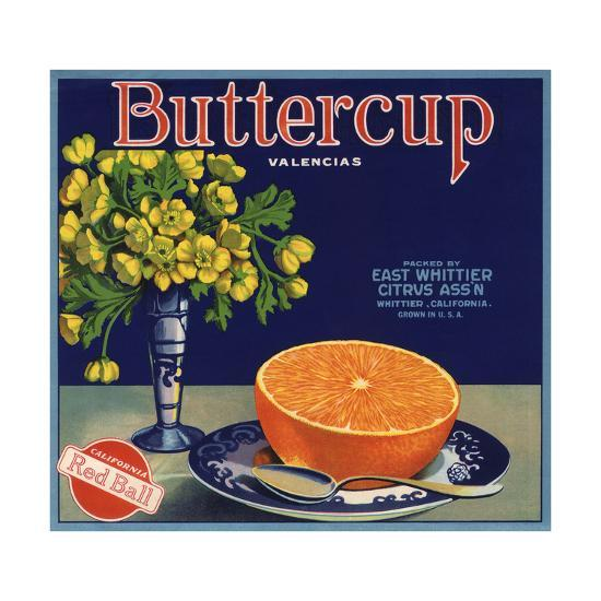 Buttercup Brand - Whittier, California - Citrus Crate Label-Lantern Press-Art Print