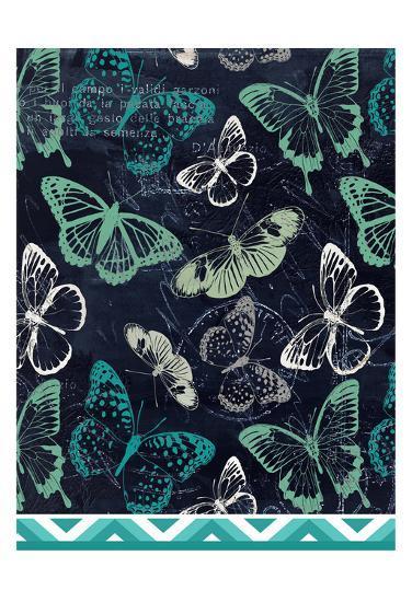 Butterflies and Chevron-Kimberly Allen-Art Print