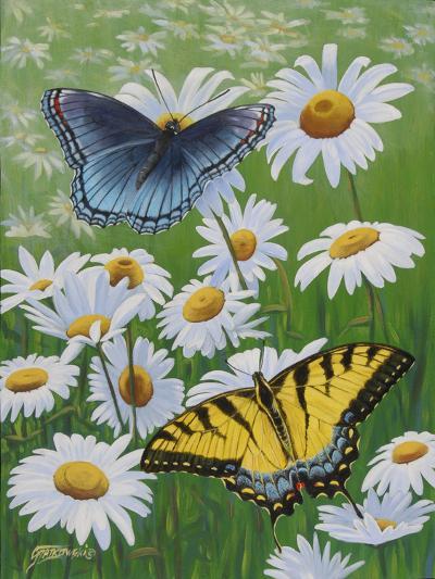 Butterflies and Daisies-Fred Szatkowski-Art Print
