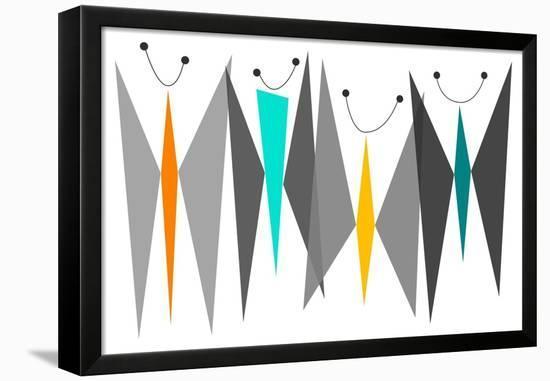 Butterflies - Grays-Tonya Newton-Framed Stretched Canvas Print