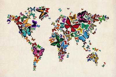 Butterflies Map of the World-Michael Tompsett-Art Print