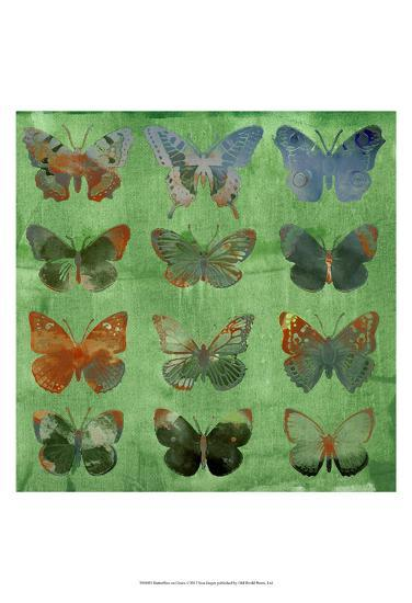 Butterflies on Green-Sisa Jasper-Art Print