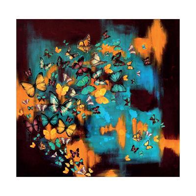 Butterflies on Warm Ochre-Lily Greenwood-Giclee Print