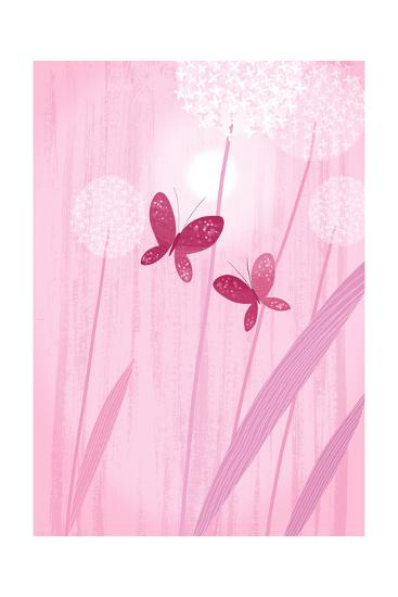 Butterflies with Dandelions on Pink--Art Print