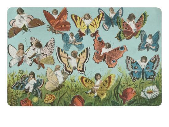 Butterflies with Victorian Children--Art Print